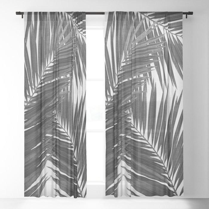 Palm Leaf Black & White III Sheer Curtain