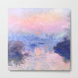 "Claude Monet ""Sunset on the Seine at Lavacourt. Winter Effect"" Metal Print"
