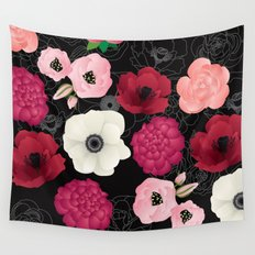 Black & Pink Flowers Midnight Wall Tapestry