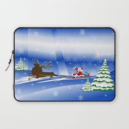 Santa Claus with christmas deer and presents Laptop Sleeve