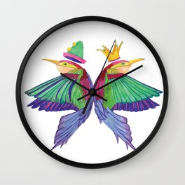 Birds with hats - Colorfull artwork Wall Clock