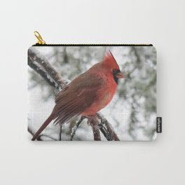 Wet Snow Cardinal (vertical) Carry-All Pouch