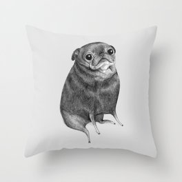 Sweet Black Pug Throw Pillow