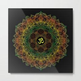 Mandala Ohm Yay Green Metal Print