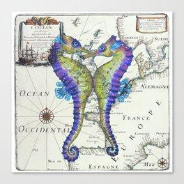 Blue Seahorse Kiss Canvas Print
