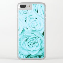 Turquoise roses - flower pattern - Vintage rose Clear iPhone Case