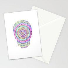 divisionism skull mandala Stationery Cards