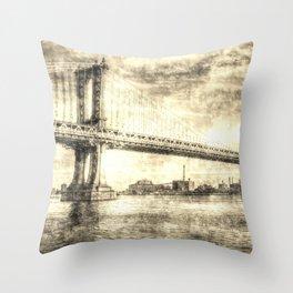 Manhattan Bridge New York Vintage Throw Pillow