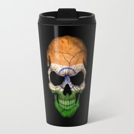 Dark Skull with Flag of India Travel Mug