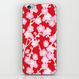 Red Cherry Blossom Pattern iPhone Skin