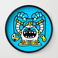 gaming Wall Clocks featuring Gaming Yeti by SAfdaf