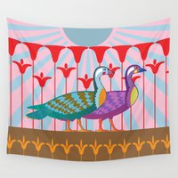ducks Wall Tapestries featuring Two Ducks by Paco Dozier