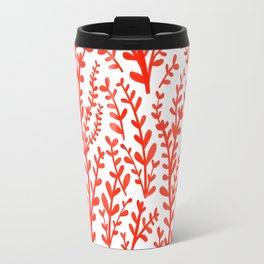 Red and White Floral Gouache Pattern Travel Mug
