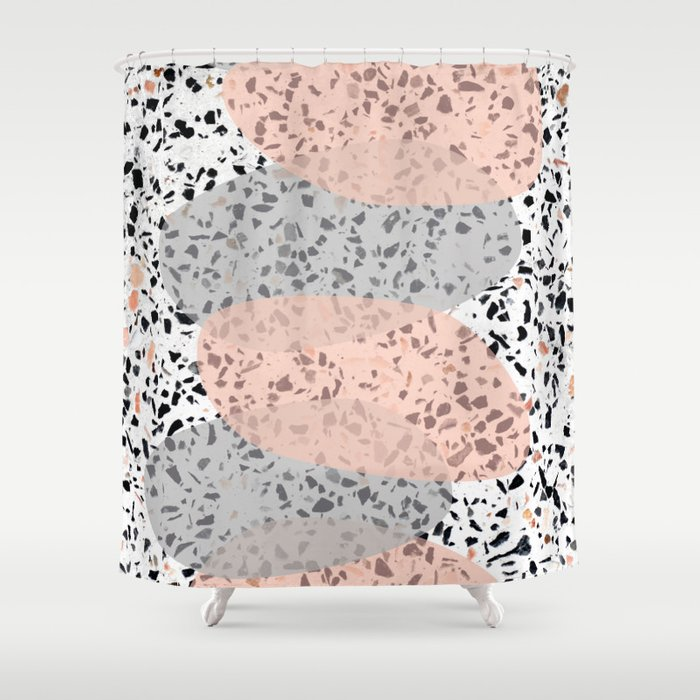 Terrazzo Abstract Design Gray Salmon Pink Shower Curtain By 5mmpaper