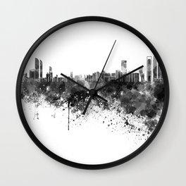 Abu Dhabi skyline in black watercolor Wall Clock