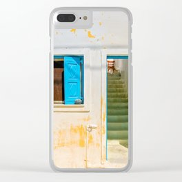 Typical blue door and window in Emporio on the island of Santorini Clear iPhone Case