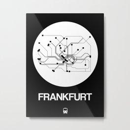 Frankfurt White Subway Map Metal Print