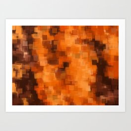 brown orange and dark brown square pattern abstract background Art Print