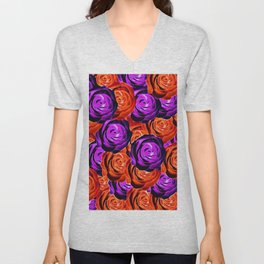 blooming rose texture pattern abstract background in red and purple Unisex V-Neck
