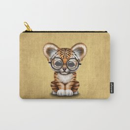 Cute Baby Tiger Cub Wearing Eye Glasses on Yellow Carry-All Pouch