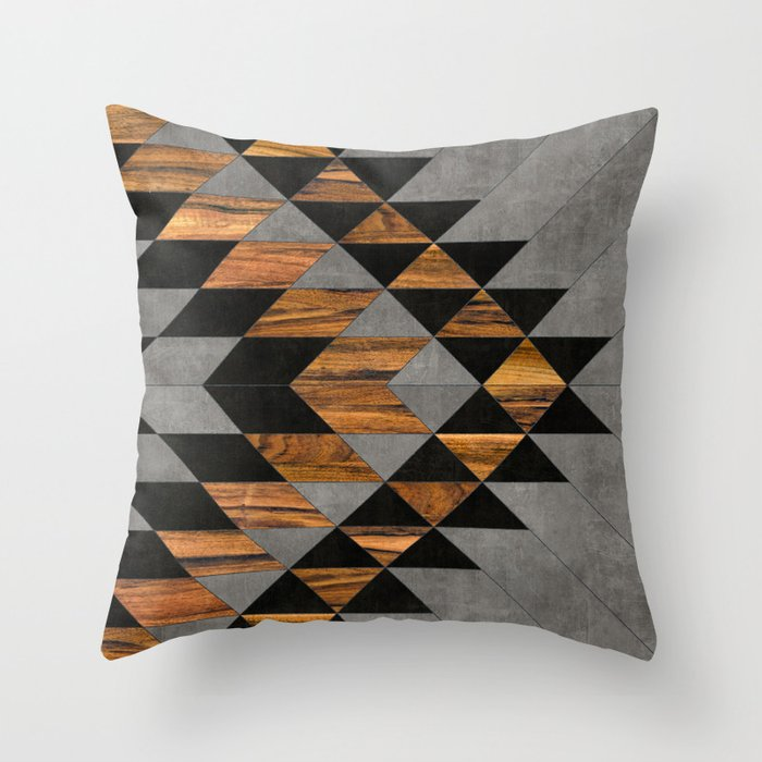 Urban Tribal Pattern No.10 - Aztec - Concrete and Wood Throw Pillow