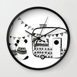 Camping Pandas Wall Clock