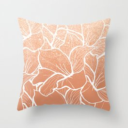 Modern copper tan terracotta glitter ombre color block white floral pattern illustration Throw Pillow