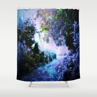 fantasy Shower Curtains featuring fantasy garden Periwinkle by 2sweet4words Designs