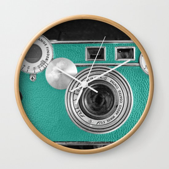 Teal retro vintage phone Wall Clock