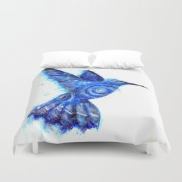 Surreal Hummingbird | Space Hummingbird | Double Exposure Animals Duvet Cover