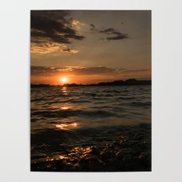 Sunset above the lake Poster