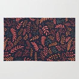 Midnight Meadow Botanical Pattern Rug
