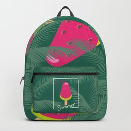 Watermelon Ice Cream Tropical Palm leaves Hello Summer Backpack