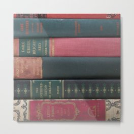 Stack Of Books- Red and Green Metal Print