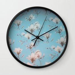 Floral Wallpaper Blue Wall Clock