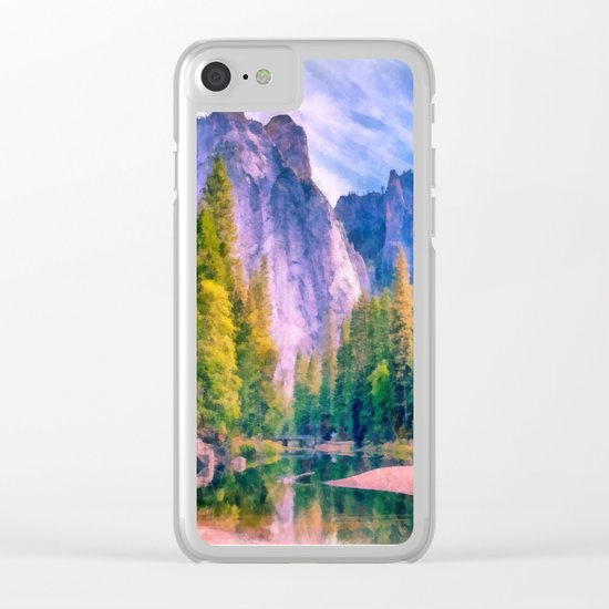 Mountain landscape with forest and river Clear iPhone Case
