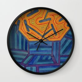 Blue Striped Segments combined with Orange Area Wall Clock
