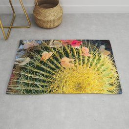 Barrel Cactus With Colorful Flower Petals Rug
