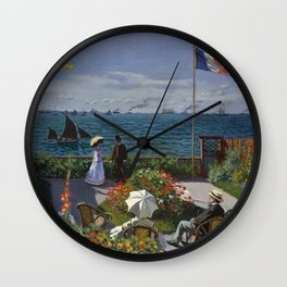 Garden at Sainte-Adresse by Claude Monet Wall Clock