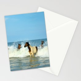 Wild Horses Swimming in Ocean Stationery Cards
