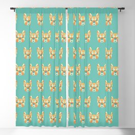 Geo Frenchie - Teal & Orange Blackout Curtain