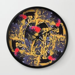Red Thistle and Insect Wall Clock
