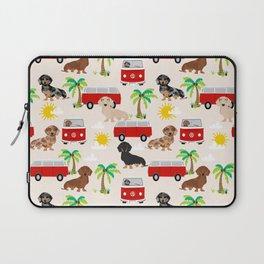 Dachshund Beach day palm tree summer dog cute dog pillow dog blanket beach towel Laptop Sleeve