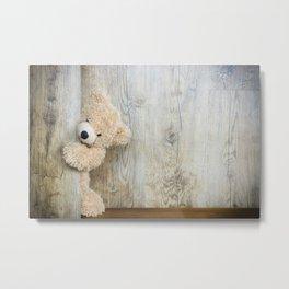 Cute Stuffed Bear Rustic Wooden Wall Metal Print