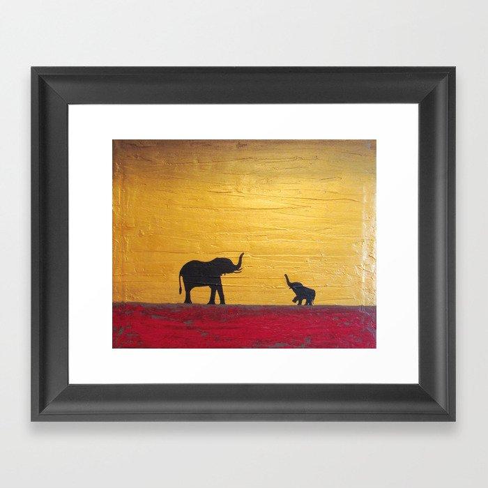 elephant painting wall art canvas decor  Framed Art Print