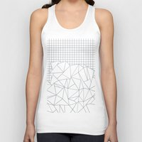 grid Tank Tops featuring Abstract Outline Grid Grey by Project M