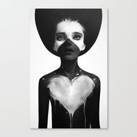 black Canvas Prints featuring Hold On by Ruben Ireland