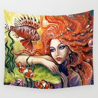 redhead Wall Tapestries featuring Redhead Mermaid Coral  by Manuela Mishkova