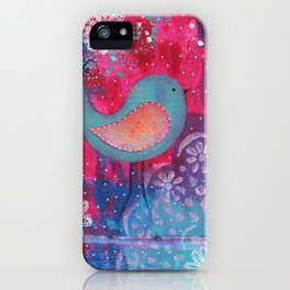 Whimsical Bird Mixed Media iPhone Case
