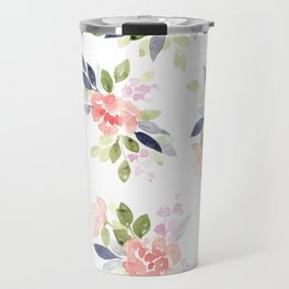Peach & Nvy Watercolor Flowers Travel Mug